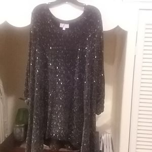 Plus size, black and silver dressy top